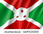 waving flag republic of burundi.... | Shutterstock . vector #669524305