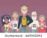 ageism concept. vector... | Shutterstock .eps vector #669542041