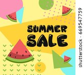 summer sale banner   memphis... | Shutterstock .eps vector #669547759
