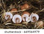Wooden Number 2018 On Eggshell...