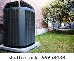 High efficiency modern AC-heater unit, energy save solution-horizontal - stock photo