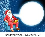 Santa claus and cartoon moon cloud on dark blue background - stock photo