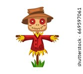 Cartoon Scarecrow Of Straw In ...