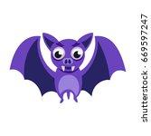 cartoon purple bat with... | Shutterstock .eps vector #669597247