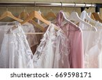 lace wedding dresses. | Shutterstock . vector #669598171