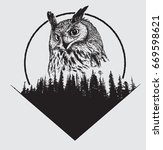 owl on forest silhouette... | Shutterstock .eps vector #669598621