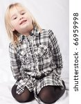 Little toddler girl model portrait on white white background - stock photo