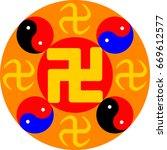 great dharma wheel. vector... | Shutterstock .eps vector #669612577