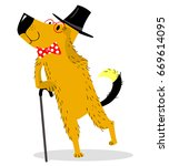 a dog dressed as a gentleman in ... | Shutterstock .eps vector #669614095