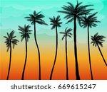 summer palm sunset   Shutterstock .eps vector #669615247
