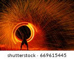 fire dancers swing fire dancing ... | Shutterstock . vector #669615445