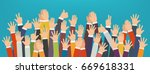 concept of raised up hands.... | Shutterstock .eps vector #669618331