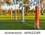 four australian football goal... | Shutterstock . vector #669622189