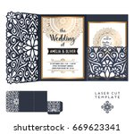 vector wedding card laser cut... | Shutterstock .eps vector #669623341