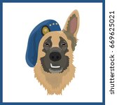 icon with sheepdog in the beret ... | Shutterstock .eps vector #669625021