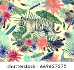 seamless vintage style... | Shutterstock . vector #669637375