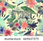 seamless vintage style... | Shutterstock . vector #669637375