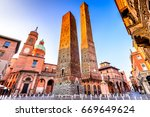bologna  italy   two towers ... | Shutterstock . vector #669649624