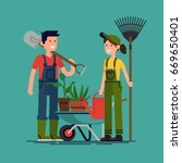 couple of gardeners vector... | Shutterstock .eps vector #669650401