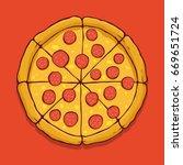 vector pepperoni pizza | Shutterstock .eps vector #669651724