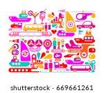 enjoy travel colorful vector... | Shutterstock .eps vector #669661261
