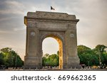 bucharest  romania. arcul de...   Shutterstock . vector #669662365