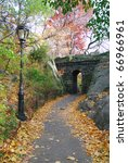 Stone Bridge In Autumn In New...
