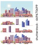 vector low poly buildings and... | Shutterstock .eps vector #669670699