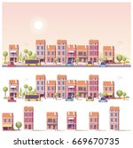 vector low poly buildings and... | Shutterstock .eps vector #669670735