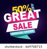 great sale banner. vector... | Shutterstock .eps vector #669708715