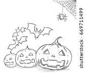 drawing halloween | Shutterstock . vector #669711499