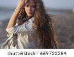 portrait of a girl  model on a... | Shutterstock . vector #669722284