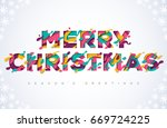 merry christmas typography... | Shutterstock .eps vector #669724225