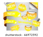 vector set of sale tags   gold... | Shutterstock .eps vector #66972592