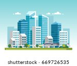urban landscape with high... | Shutterstock .eps vector #669726535