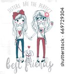 cute sisters best friends with...   Shutterstock .eps vector #669729304