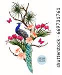 beautiful vector floral... | Shutterstock .eps vector #669731761