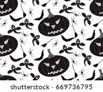 vector halloween set  seamless... | Shutterstock .eps vector #669736795