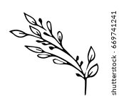 branch with leaves on white... | Shutterstock .eps vector #669741241