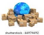 cardboard boxes and earth globe | Shutterstock . vector #66974692