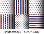 set of american seamless starry ... | Shutterstock .eps vector #669748309