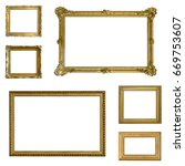 set of gilded  gold   frames... | Shutterstock . vector #669753607