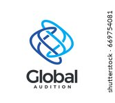 global auditio logotype. two... | Shutterstock .eps vector #669754081