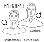 hand drawn  lined male and... | Shutterstock .eps vector #669754321
