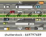 top view road truck on speedway ... | Shutterstock .eps vector #669797689