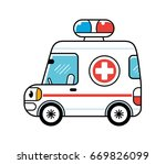 ambulance car isolated | Shutterstock .eps vector #669826099