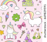 unicorn seamless pattern | Shutterstock .eps vector #669829591