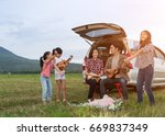 asian families are happy... | Shutterstock . vector #669837349