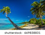 tropical beach on south side of ... | Shutterstock . vector #669838831