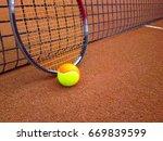 tennis racket with a tennis... | Shutterstock . vector #669839599